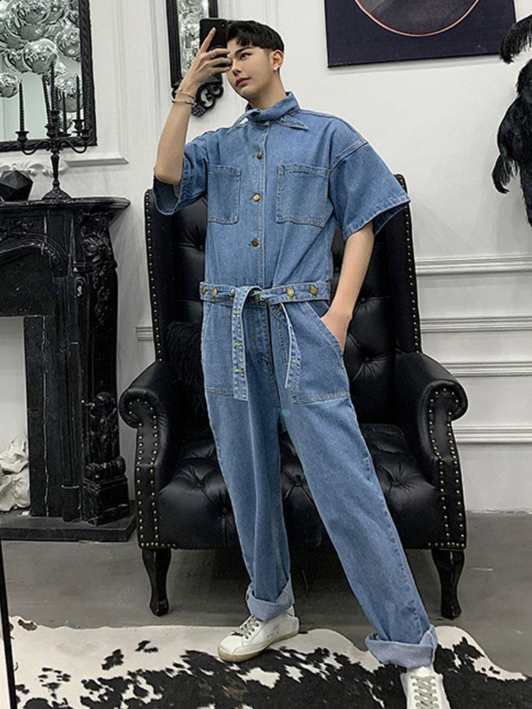 New Male Long Sleeve Overalls Jumpsuit Harem Trousers Men Vintage Fashion Streetwear Hip Hop Casual Jumpsuit Cargo Pant Pants