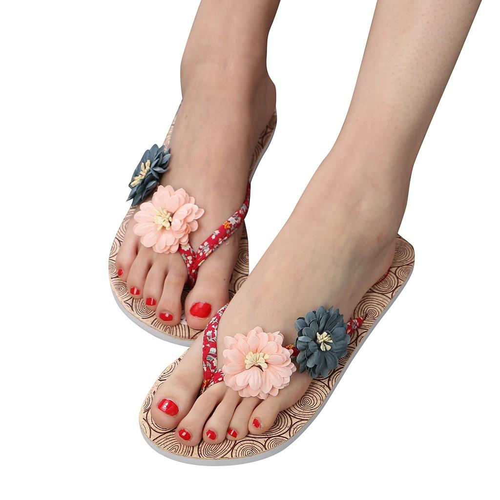 e146e023a937 Summer Women S Non Slip Flower Flip Flops Sandals Flat Beach Slippers Shoes  Women Summer Bohemian Flip Flops  g2 Womens Trainers Kids Boots From  Slimwindy