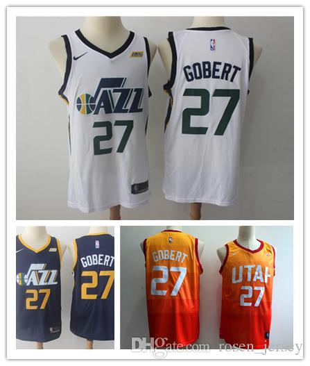 2018 2019 New The City Edition Orange 27 Rudy Gobert Jersey Stitched Mens  Utah Jazz Rudy Gobert Basketball Jerseys Yellow Navy Blue White From  Top space 9032e2011