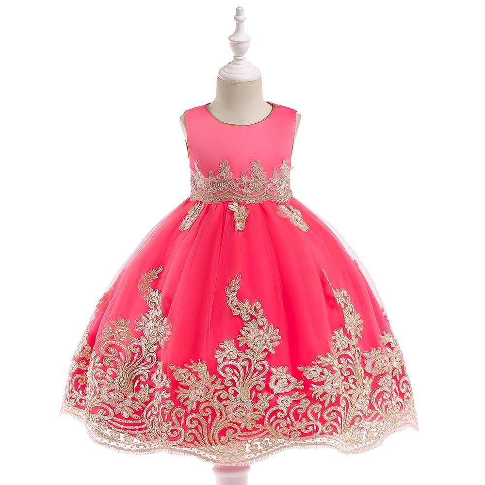 De Para Noble Novia Línea Vestidos Princesa Infantiles Elegante Niñas Fiesta Oro Cumpleaños Vestido Apliques nPk0wO