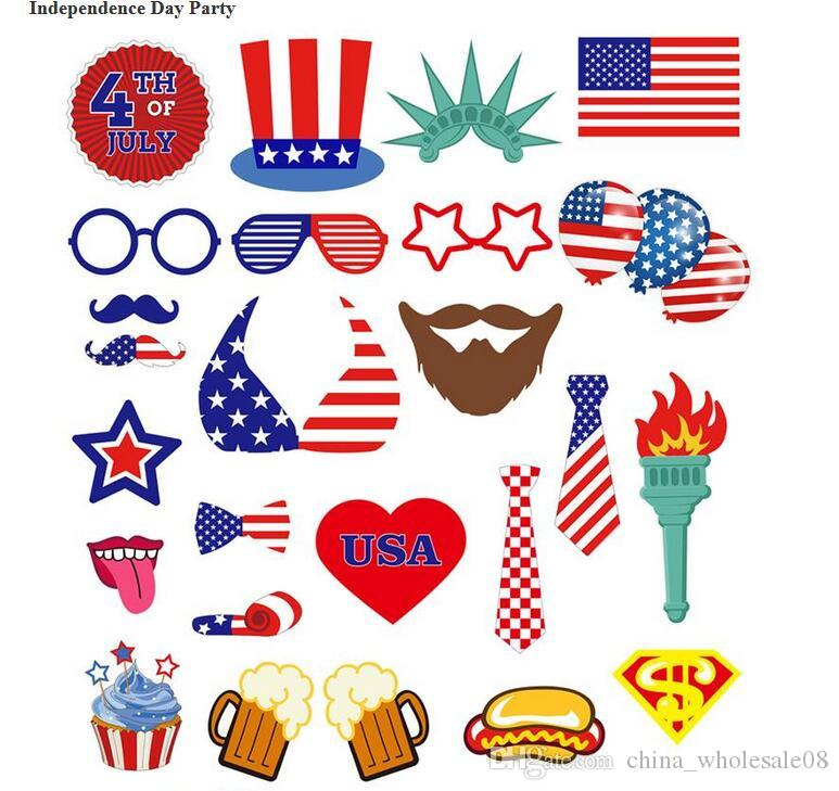 4th Of July Photo Booth Props Kit Night Games Accessories Favors DIY Out Decorations For Independence Day Party Birthday Decoration Items
