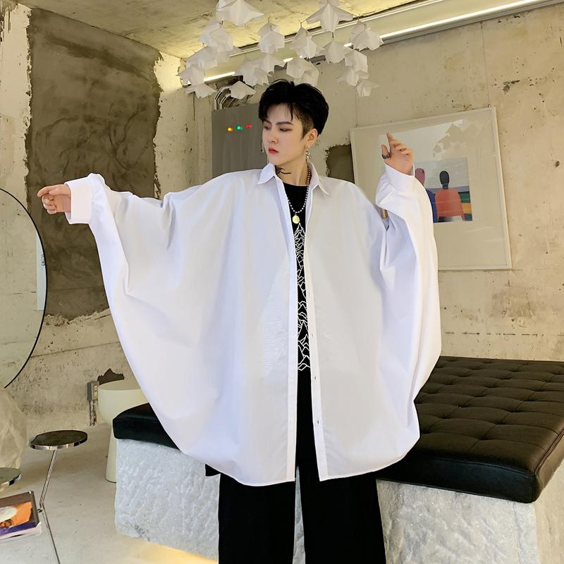 Men Oversize Bat Long Sleeve Loose Casual Shirt Male Streetwear Hip Hop Gothic Black White Shirts Cape Cloak Stage Show Costumes