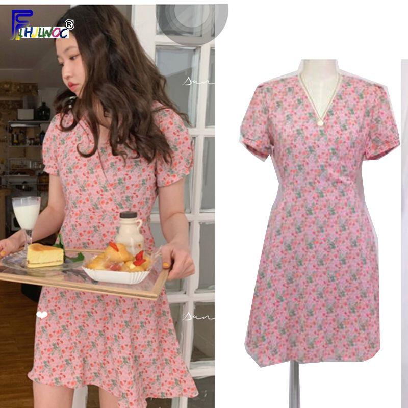 2712b24e18075 2019 A Line Dresses Summer Women Korean Japan Preppy Style Clothes Girls  Lady V Neck Pink Navy Blue Floral Print Vintage Dress Y190417 From  Zhengrui04