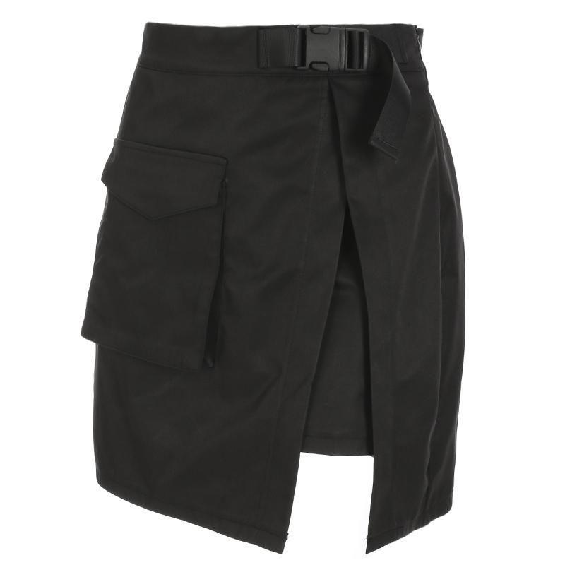 8e9ef3a31 Heyoungirl Harajuku Cargo Mini faldas para mujer Sexy de cintura alta Mini  falda de verano una línea corta faldas bolsillos divididos moda J190427