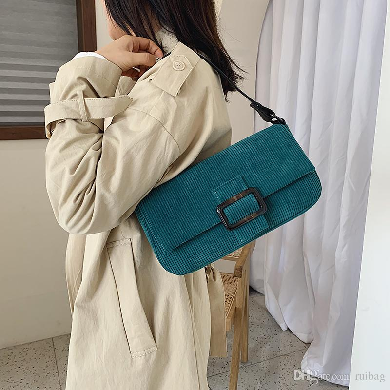 2019 Wild female bag Fashion Corduroy handbags gold Chain bag Small square package Women Cross body bags Wide shoulder bags daka/8