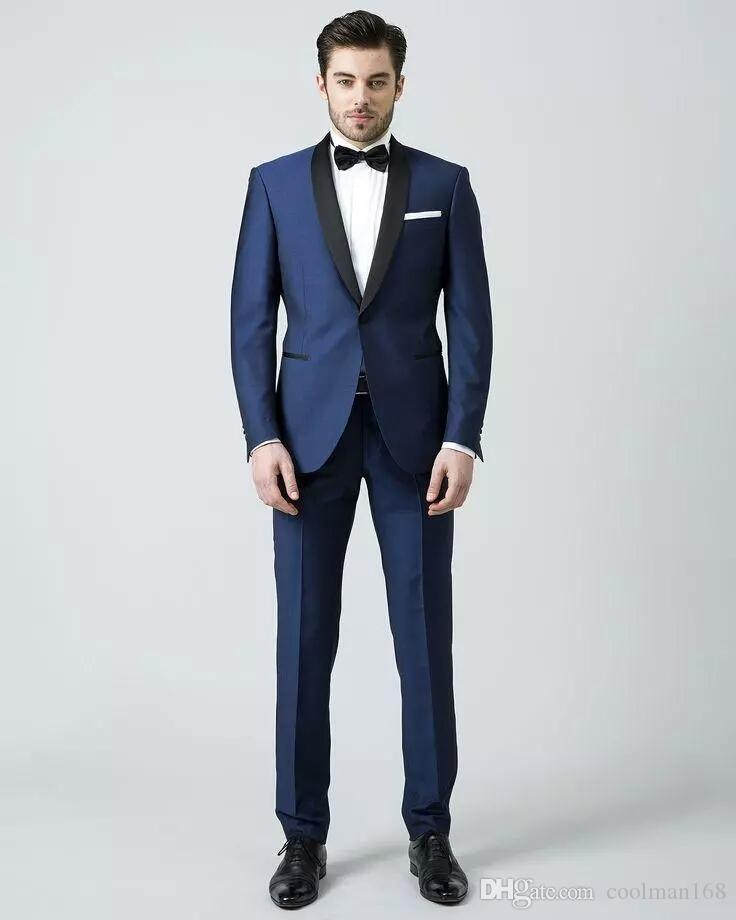 Brand New Navy Blue Men Wedding Tuxedos Black Shawl Lapel Groom Tuxedos 2019 Style Dress Men Business Dinner/Darty Suit(Jacket+Pants+Tie) 61