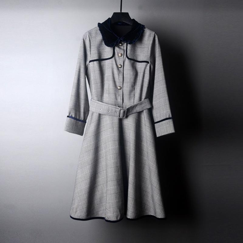 2019 Autumn Winter Grey Long Sleeve Peter Pan Neck Plaid Print Panelled Belted Single-Breasted Dress & Fashion Casual Dresses QN16gc6484