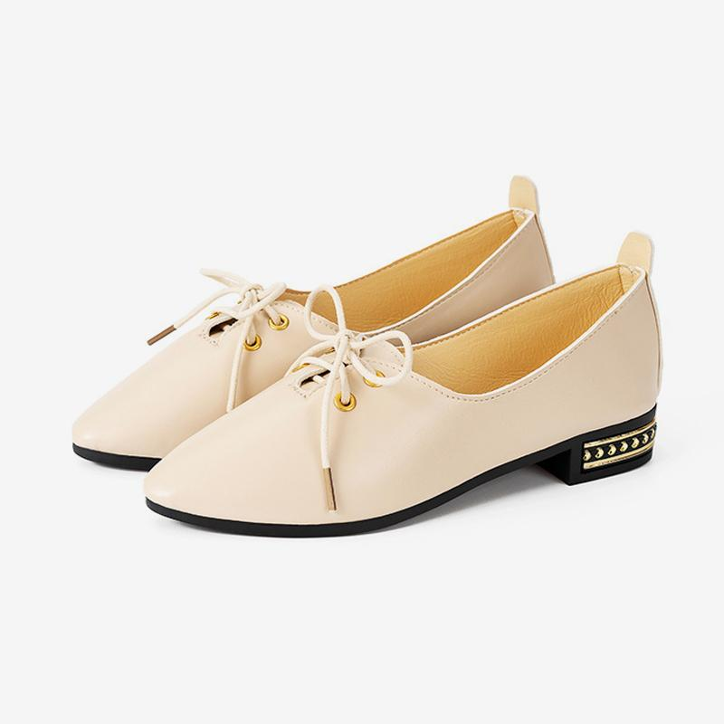c5685c69d Dress Shoes 2019 Women's Pointed Toe Thick Low Heels Loafers Female New  Lace Up Casual Crystal Comfort Oxford Ladies Fashion Footwear