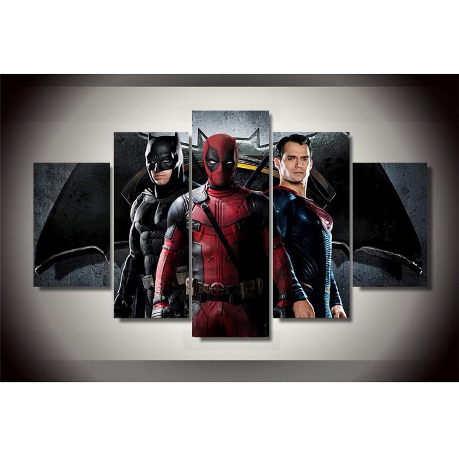 Satın Al Batman Superman Deadpool 5 Parça Hd Tuval Baskı Yeni Ev