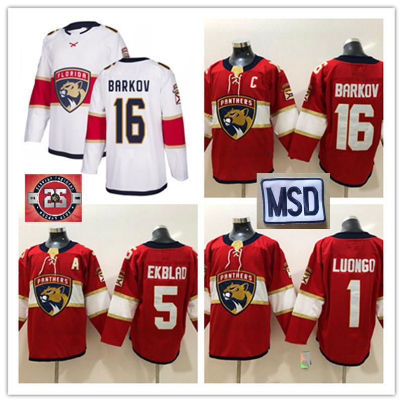check out f4d4a c6926 New Florida Panthers Aleksander Barkov Jersey #1 Roberto Luongo #5 Aaron  Ekblad Florida Panthers MSD patch Jersey S-3XL