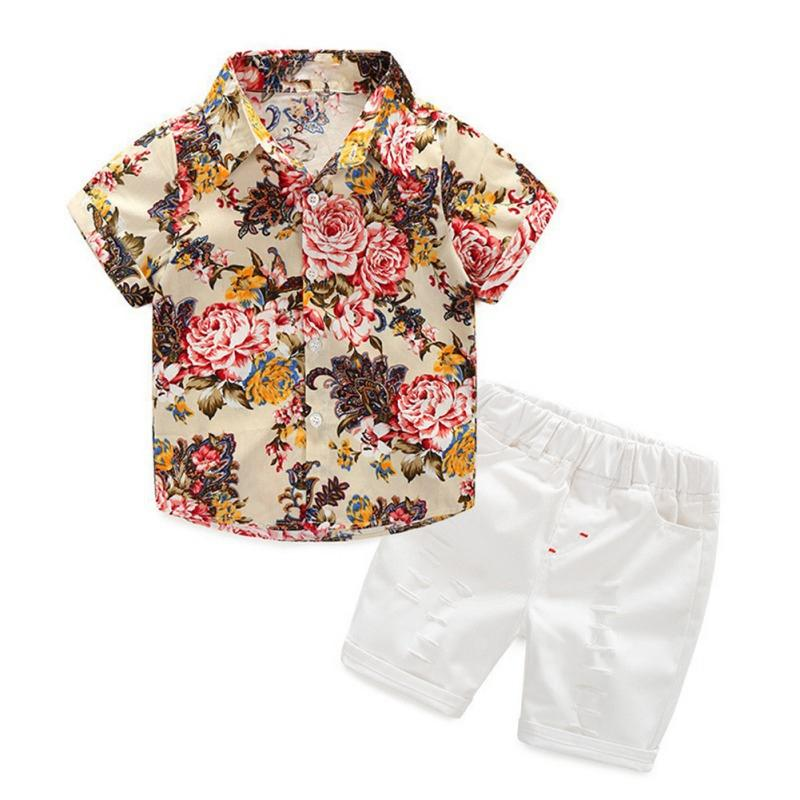 94dbd6bc5a Baby Boys Short Sleeve Floral Print Tops Blouse Shirt Hole Shorts Casual  Outfits Sets Summer Children s Clothing H