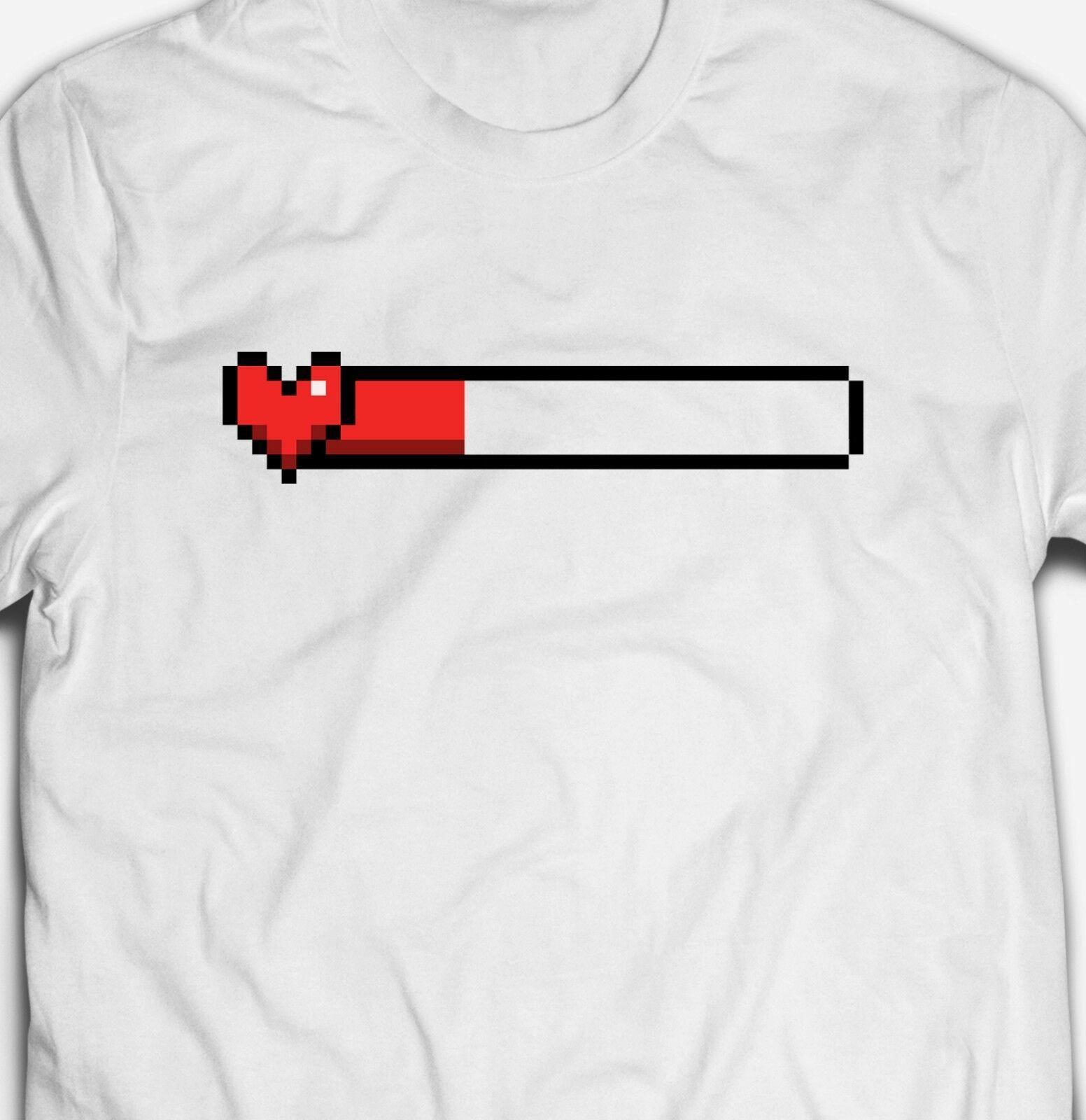 Pixelated Rétro Coeur Gamer Gaming Life Bar Pixel Geek T Shirt Pour Hommes