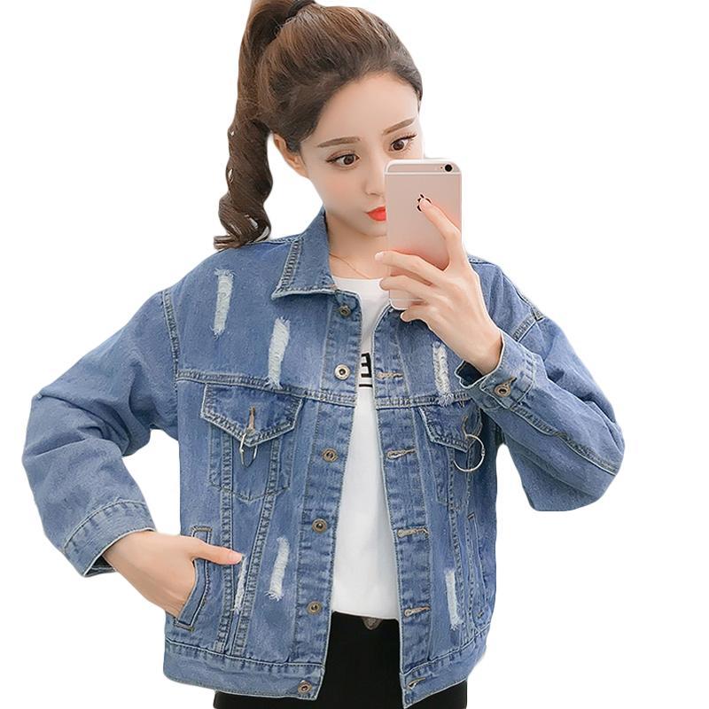 fc65485636c71 2019 Hole Jeans Jacket Women Basic Coat Spring Autumn Short Slim Denim  Jacket Casual Jeans Women Denim Coat Student D701 Cotton Jacket Leather  Jacket With ...