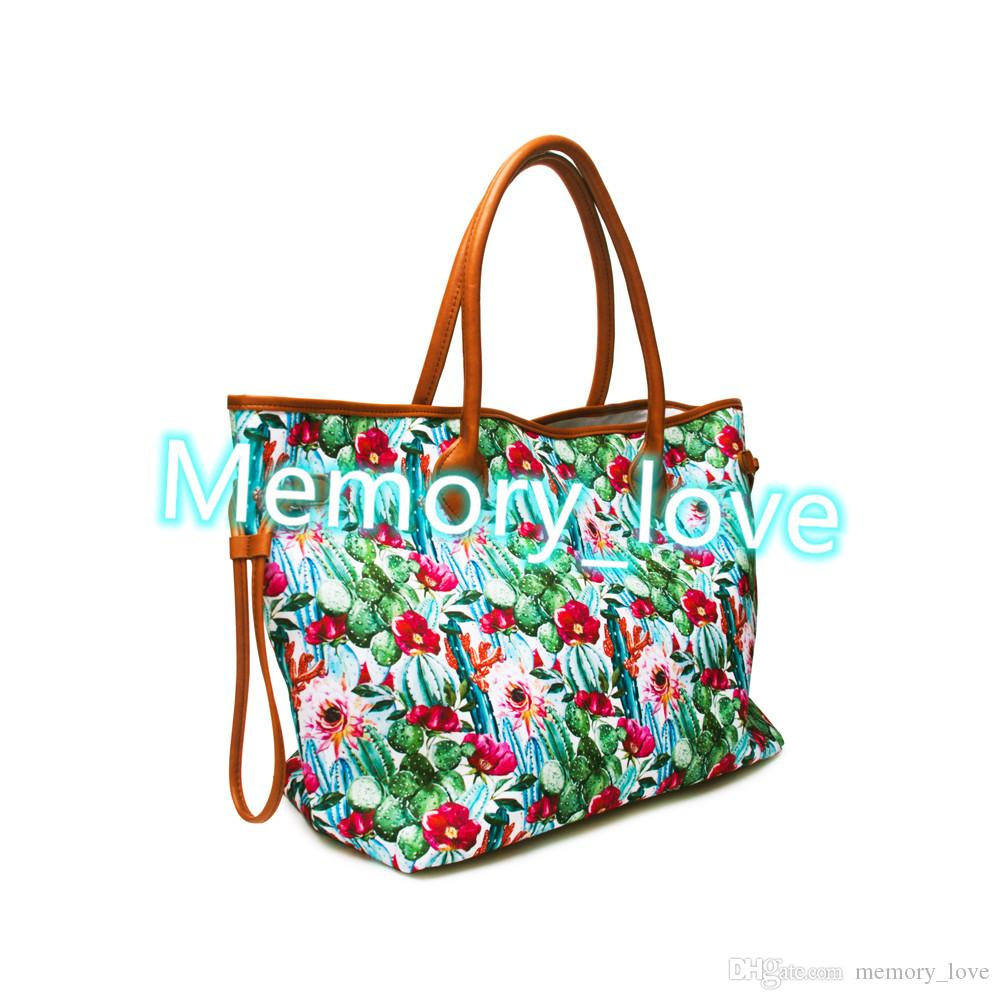 Cactus Weekender Bag New arrival Customized Large Flowers Tote Bag Personalized PU leather canvas Luggage Tribal Bag