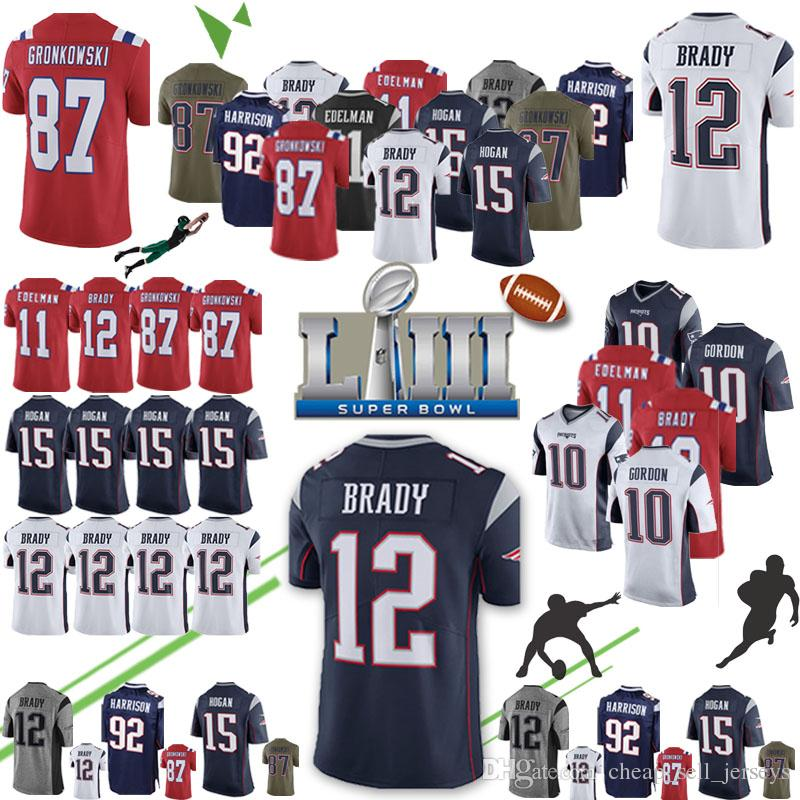 949dd936cf3 2019 2019 New 12 Tom Brady Patriots Jersey 10 Josh Gordon 87 Rob Gronkowski  11 Julian Edelman 14 Cooks 15 Hogan James Super Bowl LIII Top Qualit From  ...