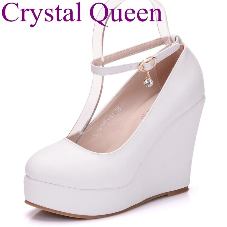 Dress Crystal Queen White Wedges Shoes Wedges Pumps Women Platform High  Heels Round Toe White High Heels Shoes Platform Wedges Shoes Strappy Heels  Geox ... 5e0c2284192d