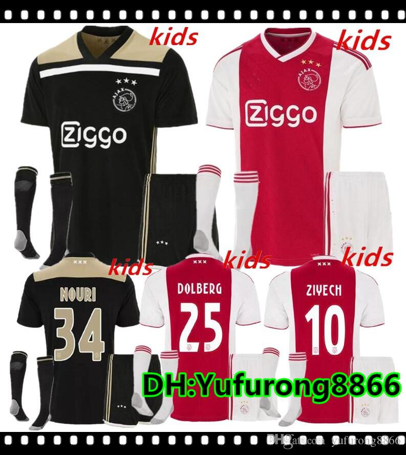 77318ae8226 2019 2018 2019 Ajax FC Home Away Soccer Jerseys Kids Kits + Socks 18/19  Camisa ZIYECH KLUIVERT NOURI DOLBERG YOUNES Jerseys Football Shirts Sets  From ...