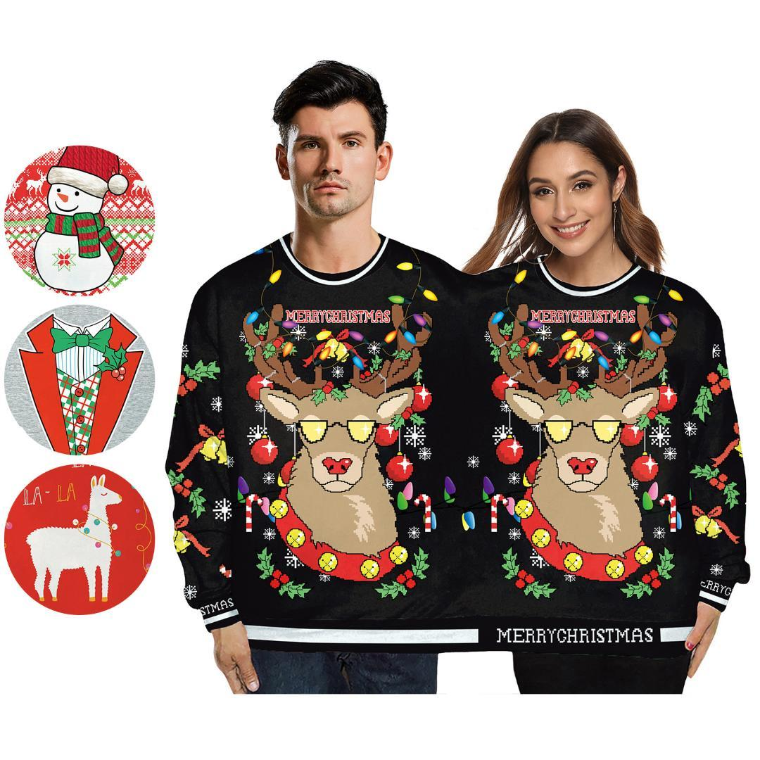 Christmas Sweater Gift Santa Claus Elf Funny Pullover Women's Men Knitwear Print Men&women Couples Siamese Round Collar Sweater