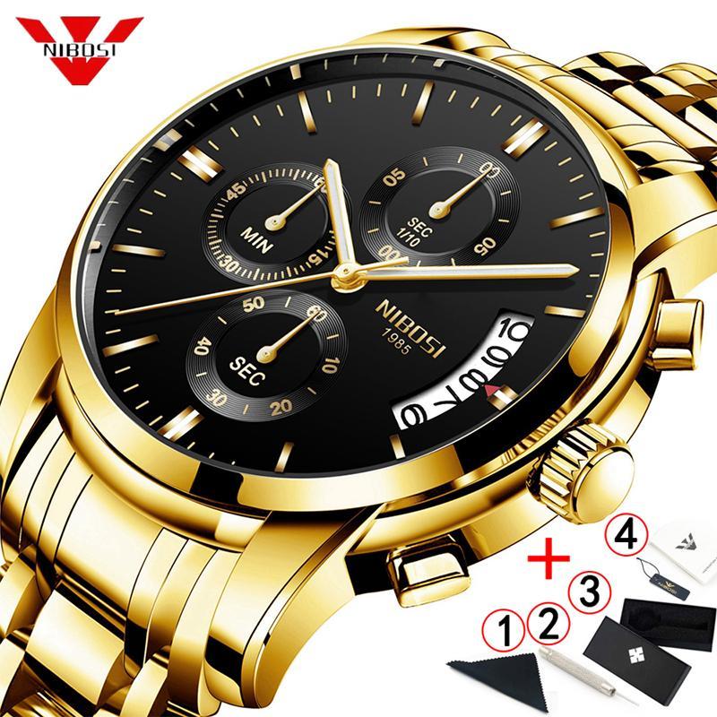 ce879a6a1106 Compre NIBOSI Reloj Para Hombre 2019 Cronógrafo De Oro Para Hombre ...