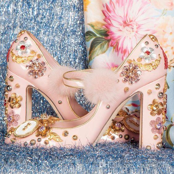 cac550c62d Style pink Leather fur rhinestone flower wedding bridal shoes crystal  chunky high heels beading metal sandals shoes pumps