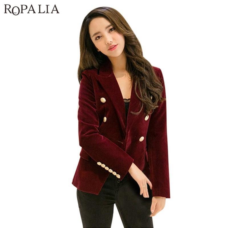 0526541198721 Women Autumn Velvet Blazer Slim Long Sleeve Office Formal Work Small Suit  Jacket Blazers Y18110701 Online with  58.41 Piece on Zhengrui06 s Store