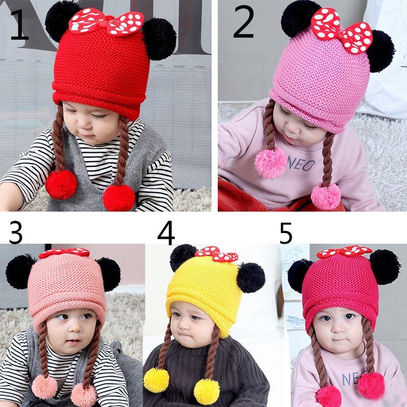 306c310d8a4 Acheter Bébé Bonnet Bonnet Infant Hiver Hiver Chaud Crochet Tricot Chapeau Bébé  Bonnets Chapeaux Pour Filles Mignon Enfants Toddler Enfants Chapeau De ...