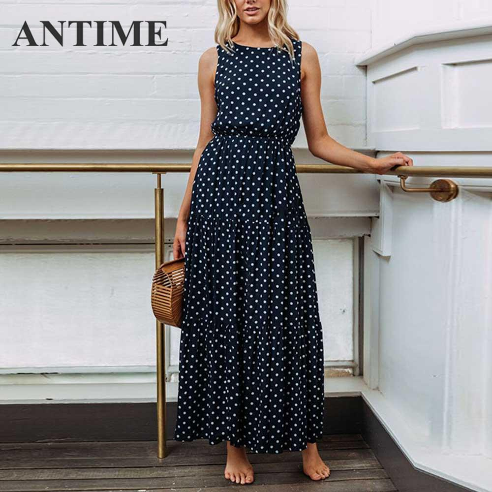 Antime Summer Midi Women Dress Spring O Neck Sleeveless Dot A Line Casual Female High Waist Elegant Maxi Yellow Pleated Dresses Q190511