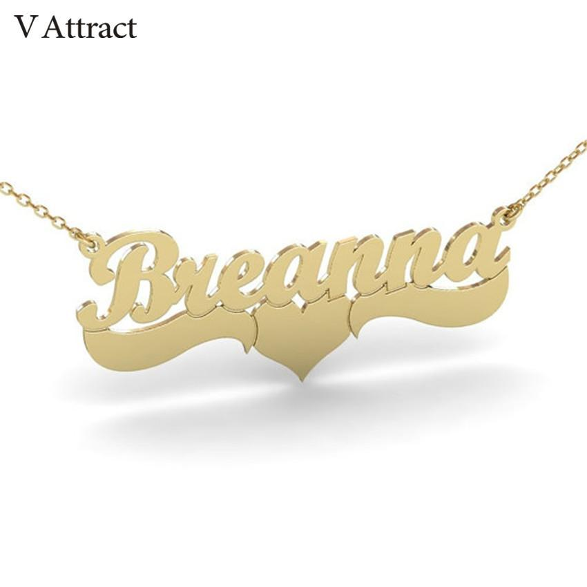 dc9abbb72 Wholesale V Attract Handmade Custom Jewelry Personalized Name Necklace  Women Men Bijoux Femme Gold Filled Heart Statement Choker Gift Idea Heart  Shaped ...