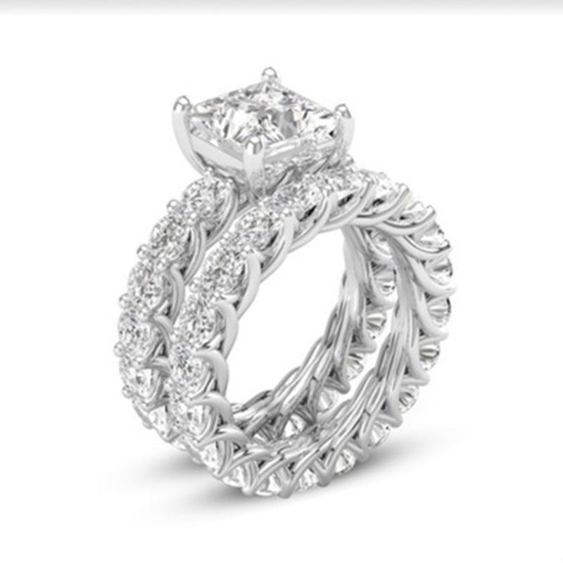 fba3b242f 2019 Silver Women Rings Set White CZ Engagement Ring Female Wedding Rings  Fashion Jewelry Size 6 10 Wholesale From Meetsue, $34.62 | DHgate.Com