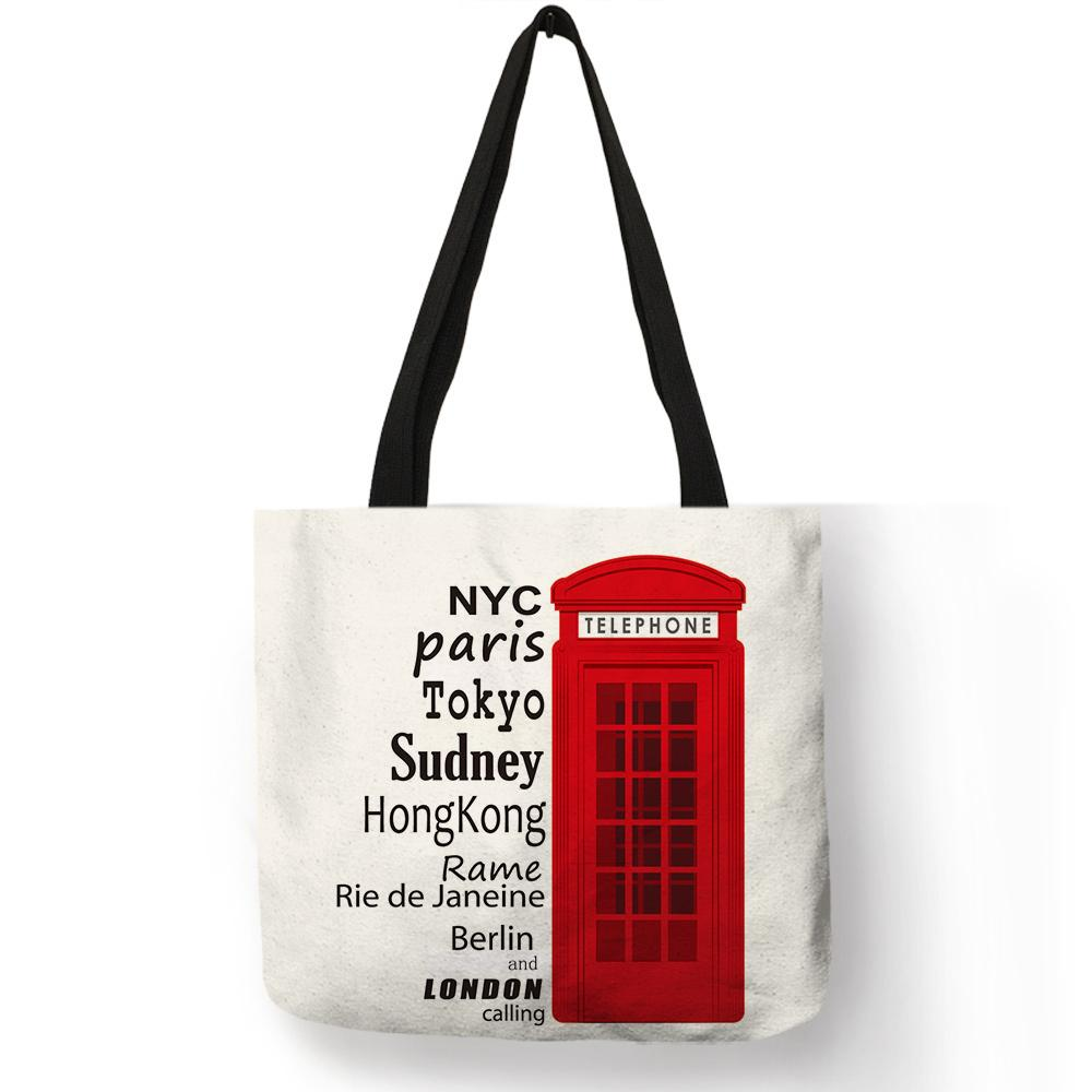 Fashion London Design Handbags Luxury Women Girls Linen Tote Bags Telephone  Bus Print Unique Folding Beach Students Book Bag Cheap Designer Bags Mens  ... bbb647e248f56