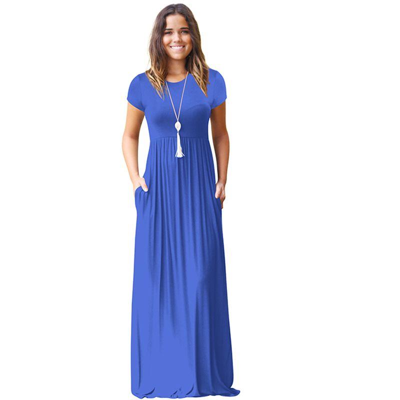 Maxi Dress For Women Short Sleeve Plus Size Long Dress O Neck Beach Dresses  Female vestido longo Summer Casual Clothes Y190117