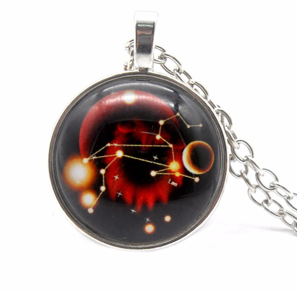 Hot sale 12 constellations Time Glass Necklace Pendant Zodiac Necklace Jewelry for Friends Best Christmas Gifts can Drop shiping
