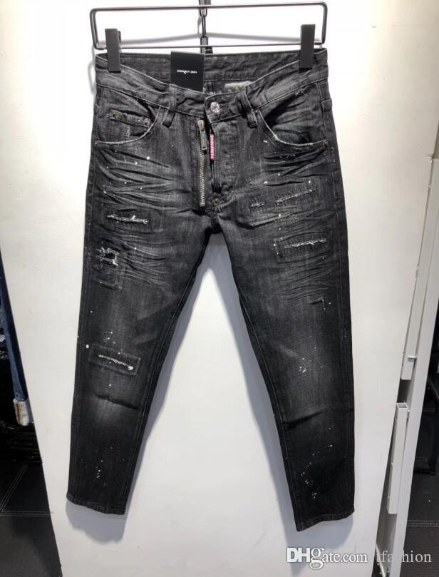 2019 D2 Pierre Rock Biker Jeans Men Ripped Denim Tearing Trousers Black  Mens Jeans Pants Ruched 878 New⠀dsquared2⠀dsquared⠀dsq⠀Hole From Tfashion,  ... 086c3817f34c