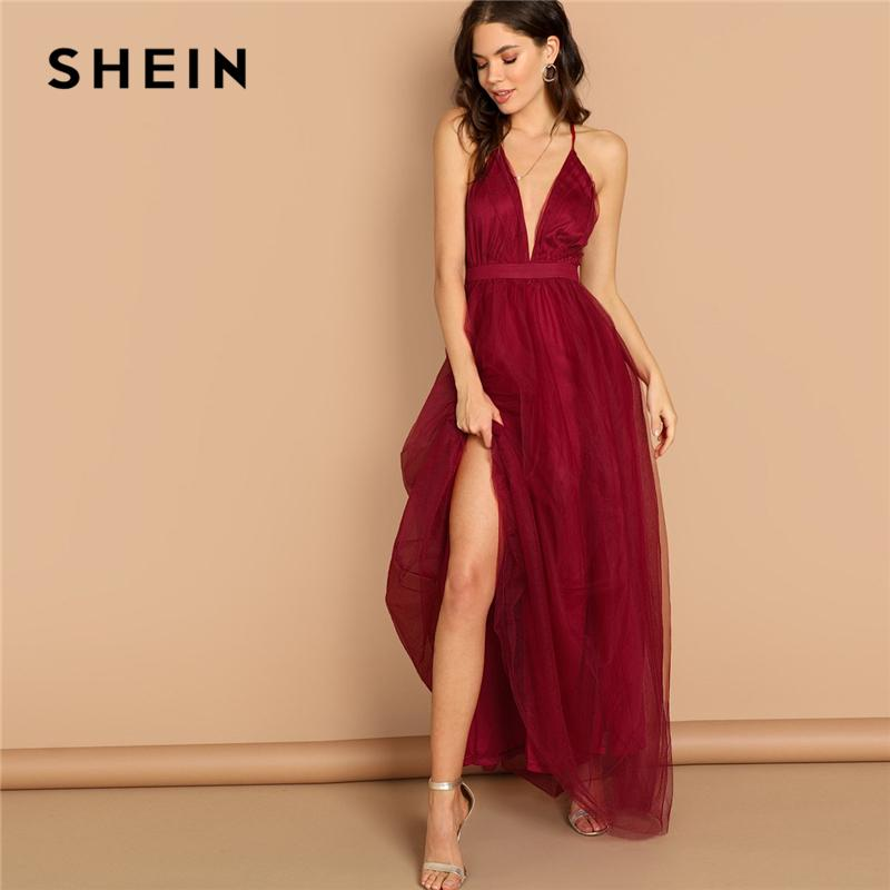 83b35a48cf SHEIN Burgundy Plunging Neck Crisscross Back Cami Dress Maxi Plain Sexy  Night Out Dress Autumn Modern Lady Women Party Dresses White Dresses For  Party Long ...