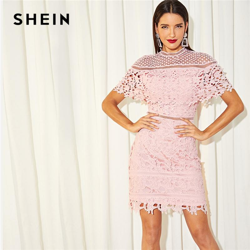 f020ee01df1 SHEIN Going Out Stand Collar Mock Neck Guipure Lace Cut Out Appliques Long  Sleeve Dress Autumn Modern Lady Casual Women Dresses