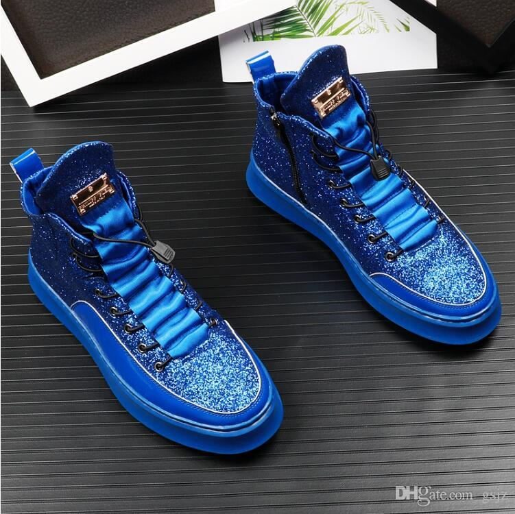 New Autumn High Top Brand Men Casual Driving Shoes Fashion blue Products Breathable Stretch boots Designer wedding Shoes Z13