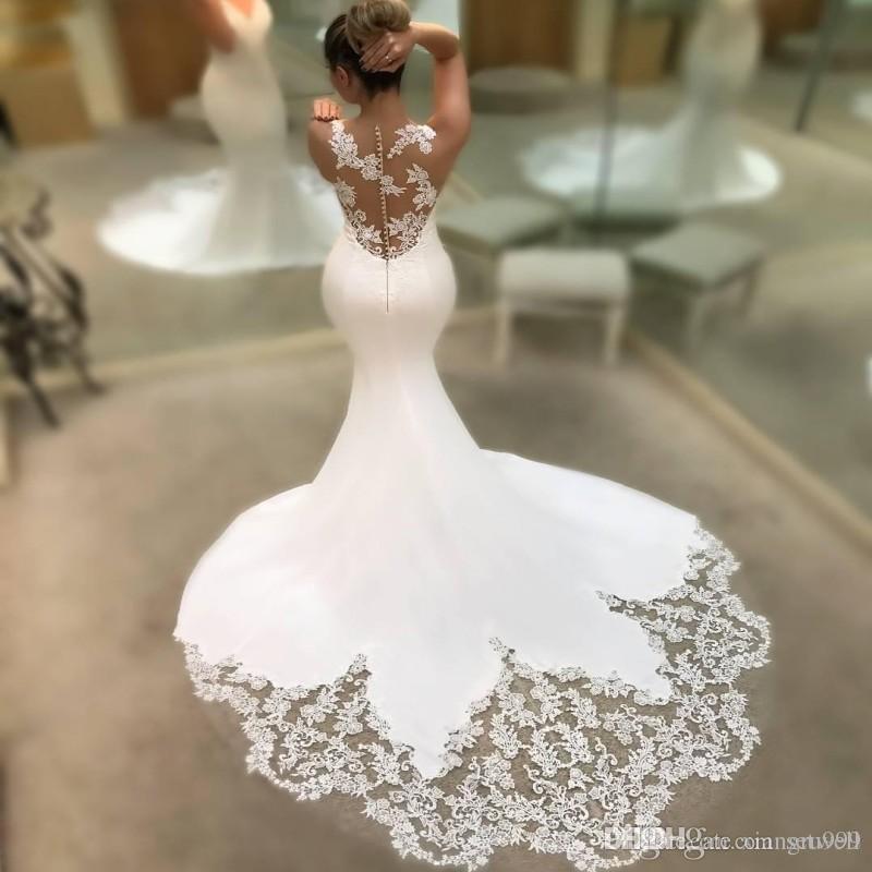 Setwell Sexy Lace Wedding Dress Deep V Neck Long Train