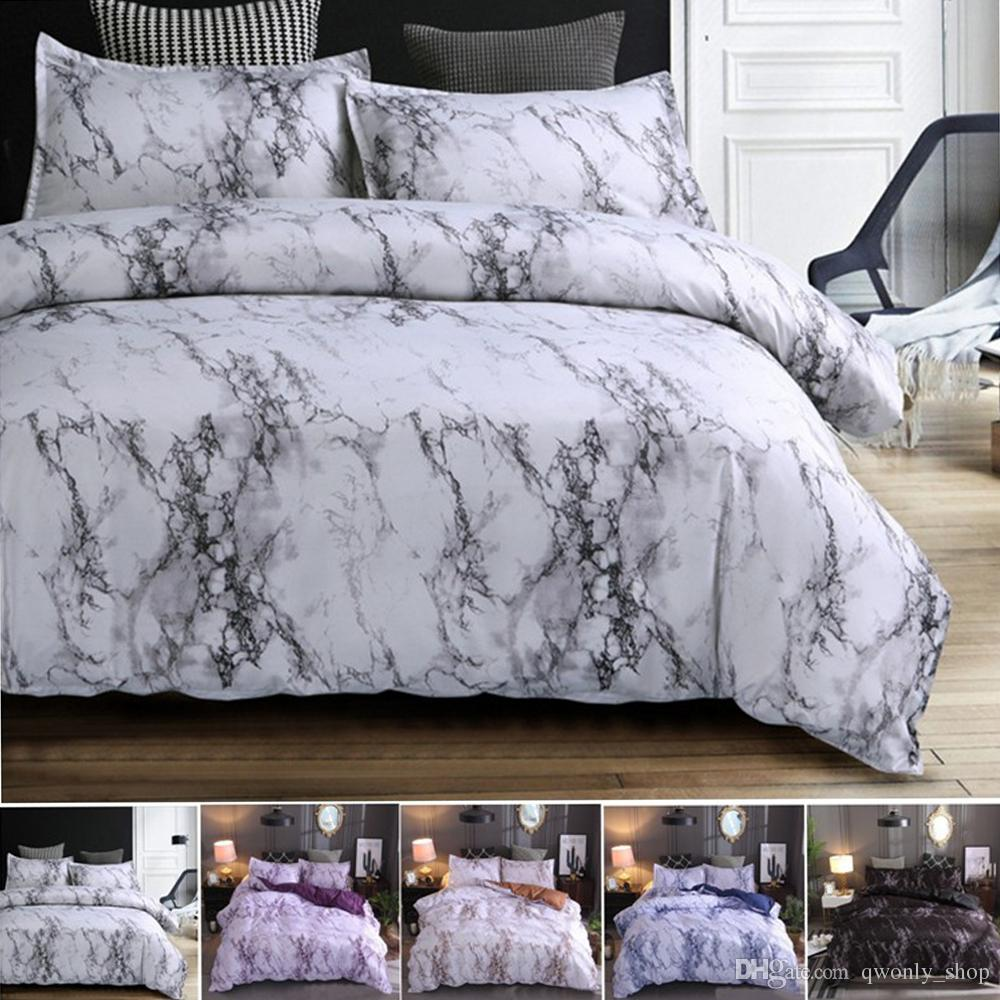 4colors Marble Pattern Bedding Sets Duvet Cover Set 2/3pcs Bed Set Twin Double Queen Quilt Cover Bed linen (No Sheet No Filling)