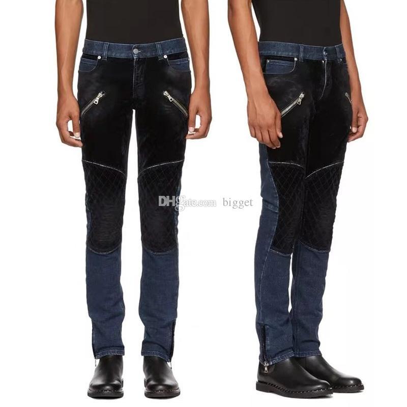 87bc0c8021 2019 Stretch Denim Velvet Biker Jeans 2018 For Mens Slim Fit Quilted Patch  Knee Trim Leg Cowboy Pants Male From Bigget, $39.6 | DHgate.Com