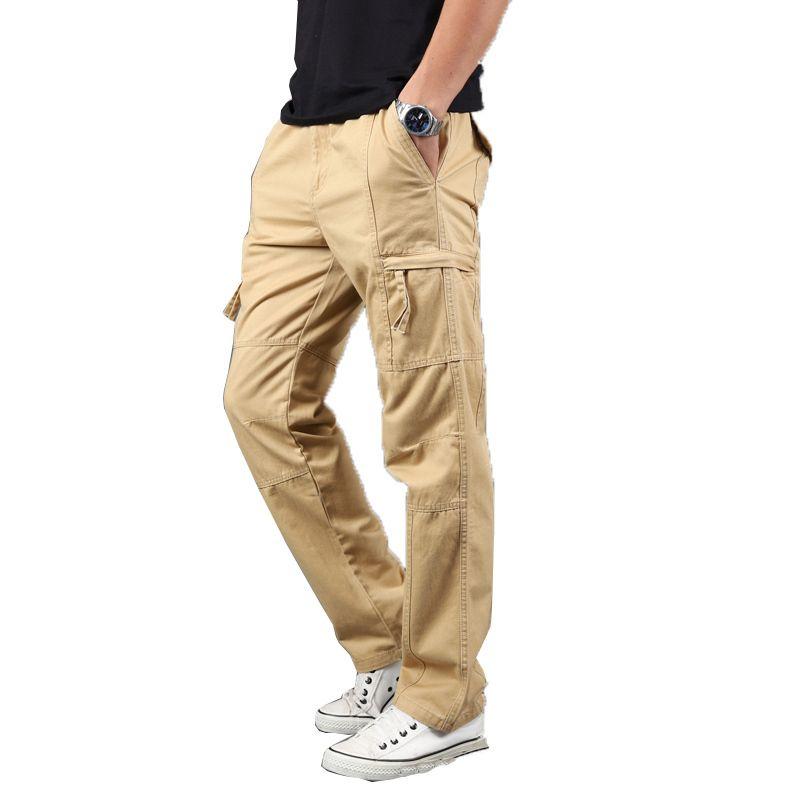 lowest discount Official Website choose latest Tactical Cargo Pants Men Joggers Pants Cotton Khaki Straight Pants Man  Casual Trousers Multi Pocket Streetwear S-4xl