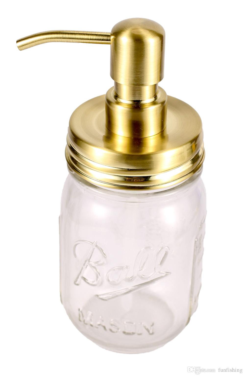 e839ee797a50 Gold Rust Proof 304 Stainless Steel Mason Jar Soap Dispenser Lid with Bird  Head Metal Pump for Regular Mason Jars-No Jars