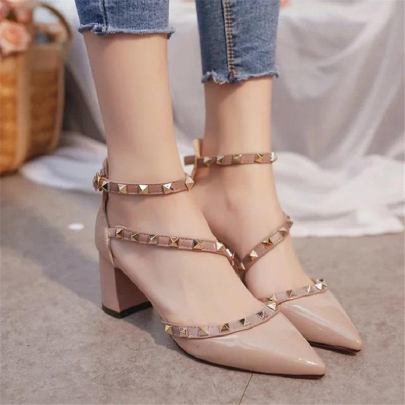 Mujer 2019 Sandalias Charol De Grosor Con Poco Remache Para Profunda Piel Tacones Diseñador Zapatos Vestir Verano Altos Nuevas 0Nwvm8nO