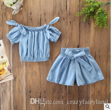 ec502ff130f 2019 Kids Designer Clothes Girls Outfit Set 2019 Summer Baby Girls Soft  Denim Off Shoulder Bow T Shirt Blouse Tops+Wide Leg Shorts Pants Set From  ...