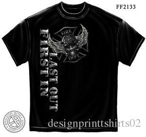 Steel Fire Wings With Foil Stamp T-Shirt- Firefighter Men's Tee Shirt