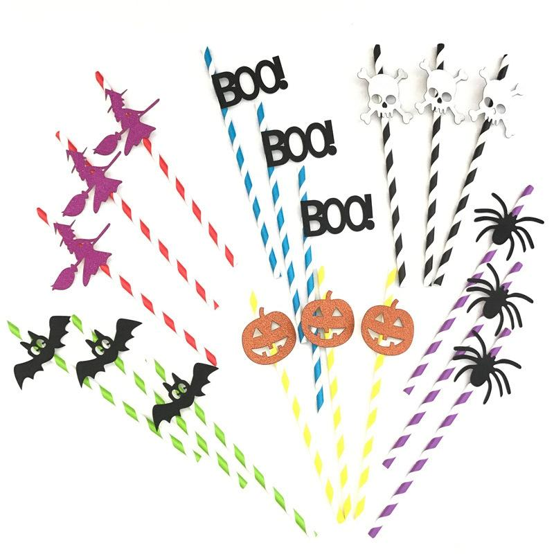 10pcs/set Halloween Party Straw Creative DIY Straws Pumpkin Bat Witch Decoration for Halloween Bar Home Party Accessories HHA650