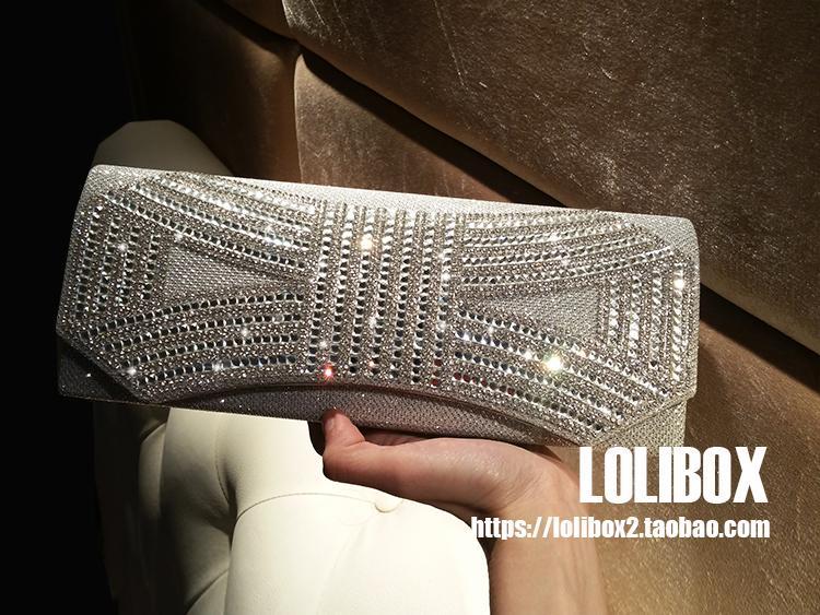 LOLIBOX Femmes Soirée Pochettes Strass Arc Clignotant Jour Embrayages Bourse À Cristal Chaîne sacs De Mariage De Noce Pochettes