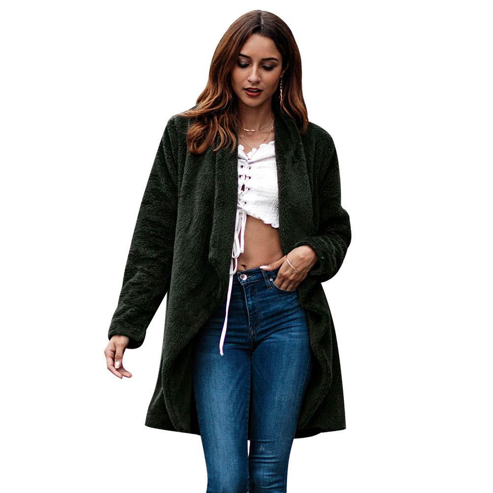 f712548f132 Women Plush Faux Fur Fleece Coat Open Front Cardigan Lapel Medium ...