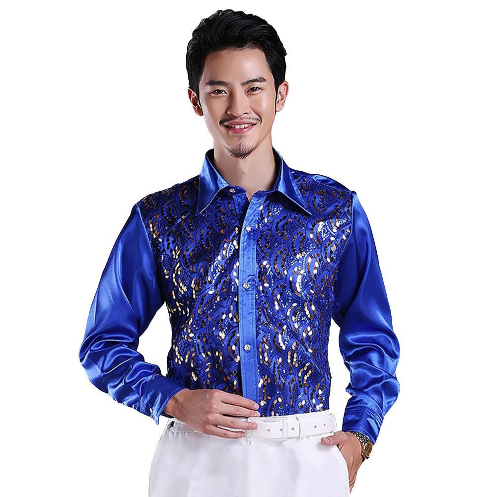 Fashion Autumn Casual Men Shiny Sequin Glittering Sequined Shirt Top Turn Down Collar Long Sleeve Stage Performance Clothing Top