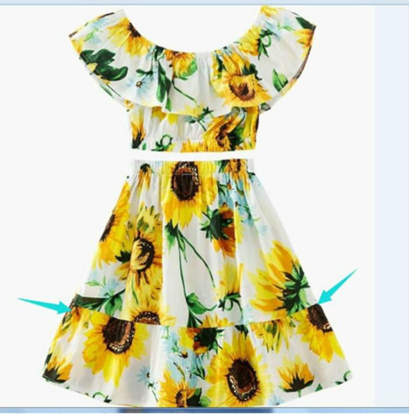 be61ab84db8b 2019 New Summer Girls Clothing Set Toddler Kids Baby Girl Clothing Sunflower  Off Shoulder Crop Tops And Skirt Outfits Clothes From Babykidsboutique, ...