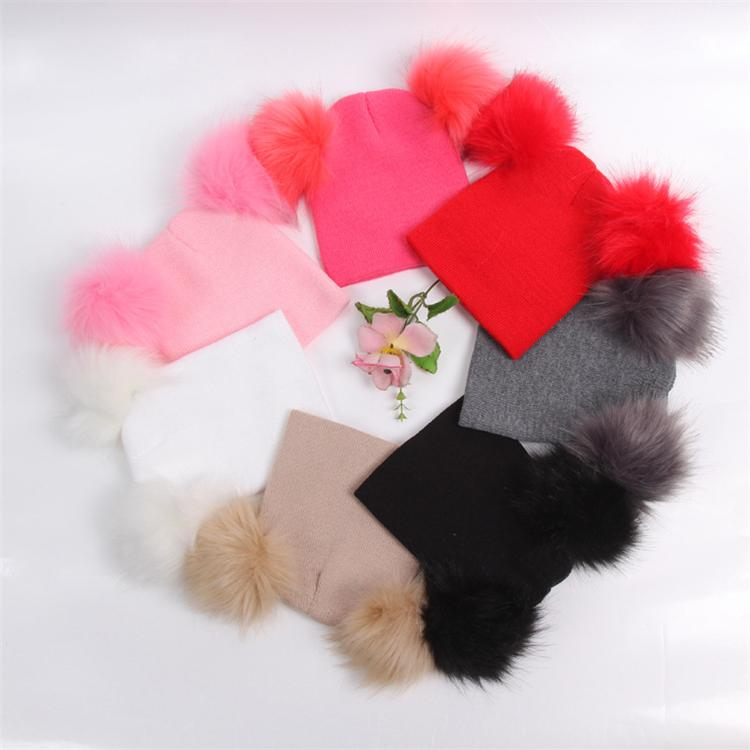 New Kids hats INS Winter Knitted Hat Warm Wool Hat Skull Beanie Double Fur Ball Child Knit Outdoor ski Cap 5126